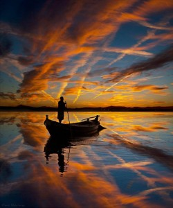 boat on spectacular sunset